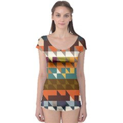 Shapes In Retro Colors Short Sleeve Leotard (ladies) by LalyLauraFLM
