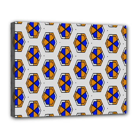 Orange Blue Honeycomb Pattern Canvas 14  X 11  (stretched) by LalyLauraFLM