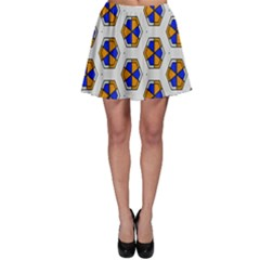 Orange Blue Honeycomb Patternskater Skirt by LalyLauraFLM