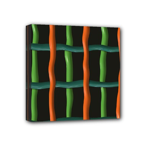 Orange Green Wires Mini Canvas 4  X 4  (stretched) by LalyLauraFLM