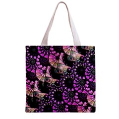 Hippy Fractal Spiral Stacks Grocery Tote Bag by KirstenStar