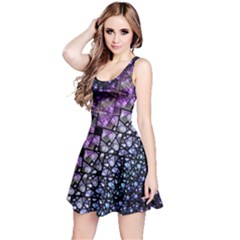 Dusk Blue and Purple Fractal Reversible Sleeveless Dress by KirstenStar