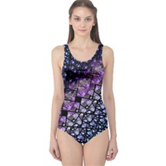 Dusk Blue and Purple Fractal One Piece Swimsuit by KirstenStar