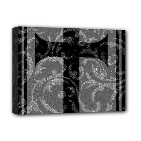 Goth Brocade Cross Deluxe Canvas 16  x 12  (Framed)  by ArtistRoseanneJones