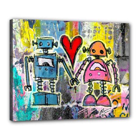 Graffiti Pop Robot Love Canvas 20  X 16  (framed) by ArtistRoseanneJones