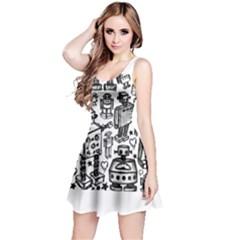Robot Crowd Reversible Sleeveless Dress by ArtistRoseanneJones