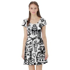 Robot Crowd Short Sleeve Skater Dress by ArtistRoseanneJones