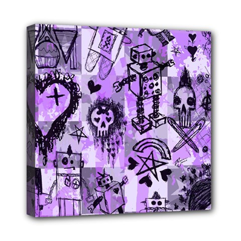 Purple Scene Kid Sketches Mini Canvas 8  X 8  (framed) by ArtistRoseanneJones