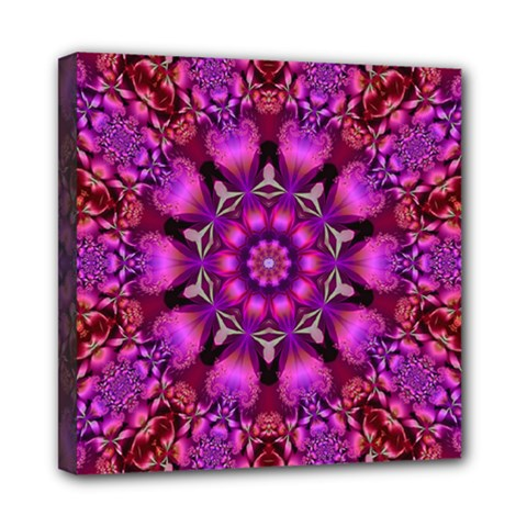 Pink Fractal Kaleidoscope  Mini Canvas 8  X 8  (framed) by KirstenStar