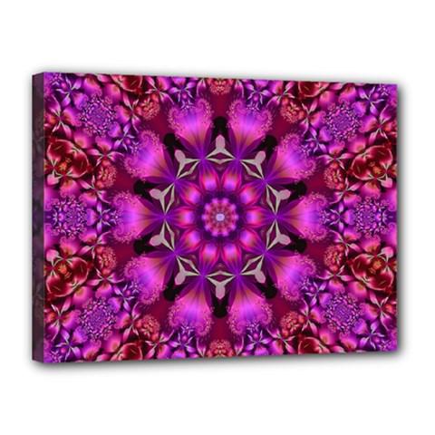 Pink Fractal Kaleidoscope  Canvas 16  X 12  (framed) by KirstenStar