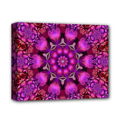 Pink Fractal Kaleidoscope  Deluxe Canvas 14  X 11  (framed) by KirstenStar