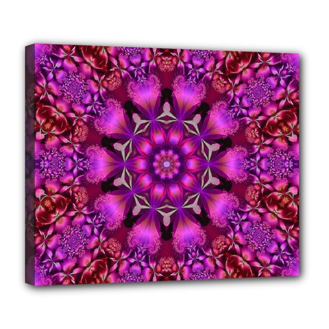 Pink Fractal Kaleidoscope  Deluxe Canvas 24  X 20  (framed) by KirstenStar