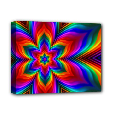 Rainbow Flower Deluxe Canvas 14  X 11  (framed) by KirstenStar
