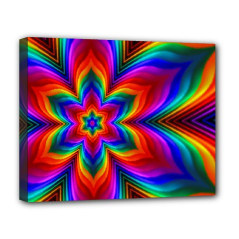 Rainbow Flower Deluxe Canvas 20  X 16  (framed) by KirstenStar