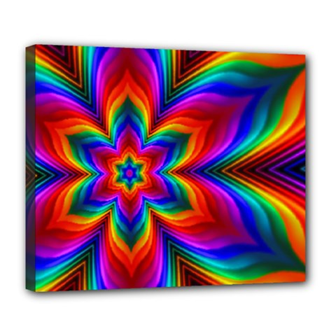 Rainbow Flower Deluxe Canvas 24  X 20  (framed) by KirstenStar
