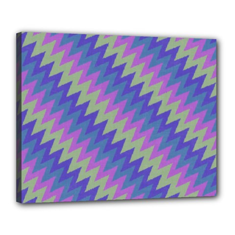 Diagonal Chevron Pattern Canvas 20  X 16  (stretched) by LalyLauraFLM
