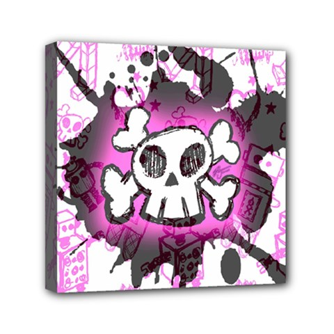 Cartoon Skull  Mini Canvas 6  X 6  (framed) by ArtistRoseanneJones