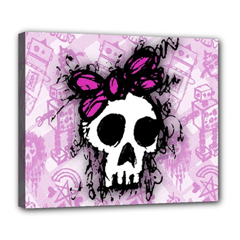 Sketched Skull Princess Deluxe Canvas 24  X 20  (framed) by ArtistRoseanneJones