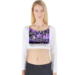 Purple Star Long Sleeve Crop Top (Tight Fit) by ArtistRoseanneJones