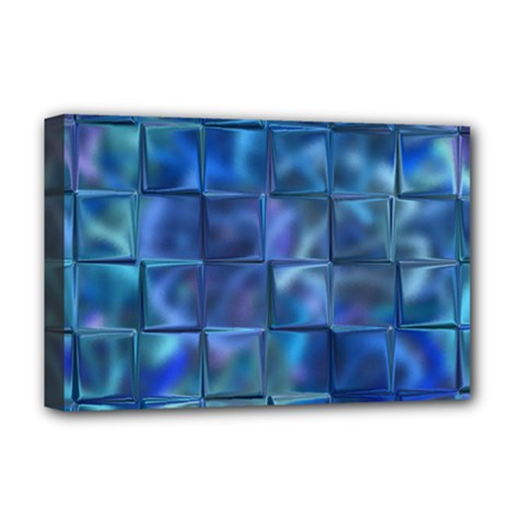 Blue Squares Tiles Deluxe Canvas 18  X 12  (framed) by KirstenStar