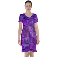 Purple Squares Short Sleeve Nightdress by KirstenStar