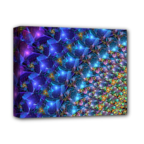Blue Sunrise Fractal Deluxe Canvas 14  X 11  (stretched) by KirstenStar