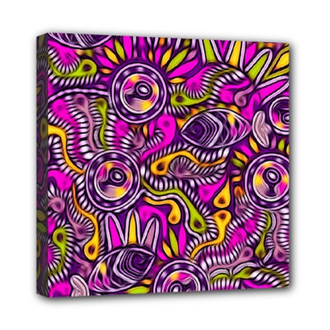 Purple Tribal Abstract Fish Mini Canvas 8  X 8  (framed) by KirstenStar