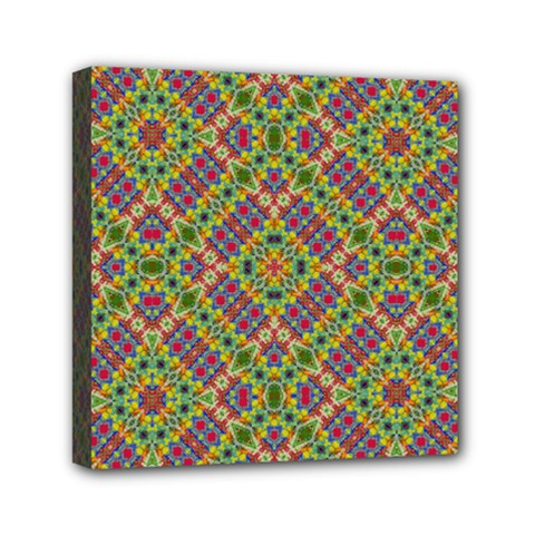Multicolor Geometric Ethnic Seamless Pattern Mini Canvas 6  X 6  (framed) by dflcprints