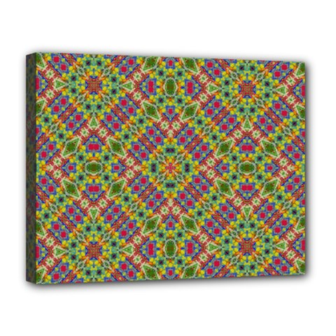 Multicolor Geometric Ethnic Seamless Pattern Canvas 14  X 11  (framed) by dflcprints