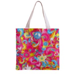 Hippy Peace Swirls Grocery Tote Bag by KirstenStar