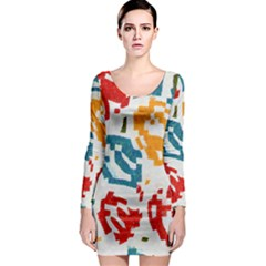 Colorful Paint Stokes Long Sleeve Bodycon Dress by LalyLauraFLM