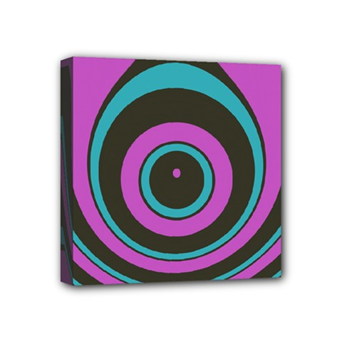 Distorted Concentric Circles Mini Canvas 4  X 4  (stretched) by LalyLauraFLM