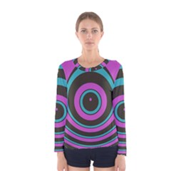 Distorted concentric circles Women Long Sleeve T-shirt by LalyLauraFLM