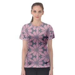 Pink Flowers Pattern Women s Sport Mesh Tee by LalyLauraFLM