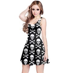 Skull and Crossbones Pattern Reversible Sleeveless Dress by ArtistRoseanneJones