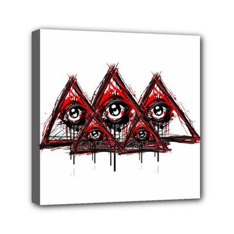 Red White pyramids Mini Canvas 6  x 6  (Framed) by teeship