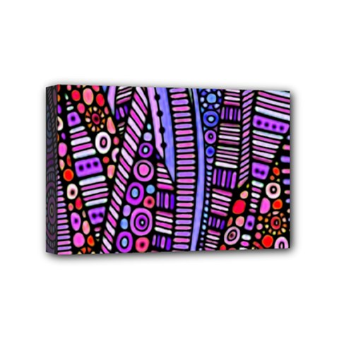 Stained glass tribal pattern Mini Canvas 6  x 4  (Framed) by KirstenStar