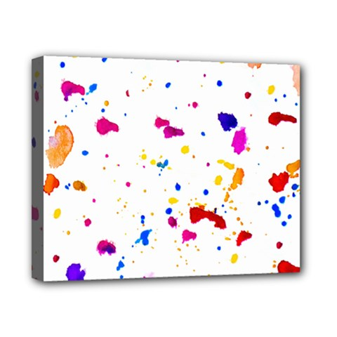 Multicolor Splatter Abstract Print Canvas 10  X 8  (framed) by dflcprints