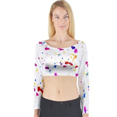 Multicolor Splatter Abstract Print Long Sleeve Crop Top (Tight Fit) by dflcprintsclothing