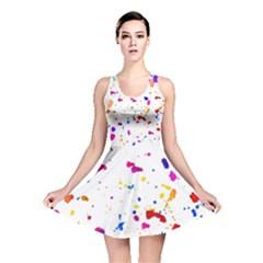 Multicolor Splatter Abstract Print Reversible Skater Dress by dflcprintsclothing