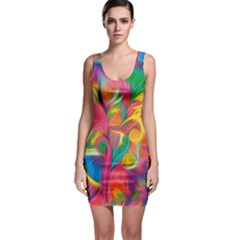 Colorful Floral Abstract Painting Bodycon Dress by KirstenStar