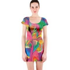 Colorful Floral Abstract Painting Short Sleeve Bodycon Dress by KirstenStar