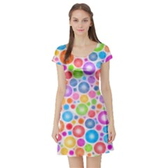 Candy Color s Circles Short Sleeve Skater Dress by KirstenStar