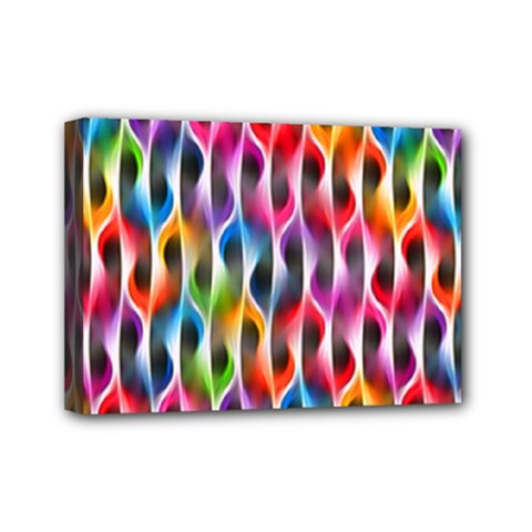 Rainbow Psychedelic Waves Mini Canvas 7  x 5  (Framed) by KirstenStar