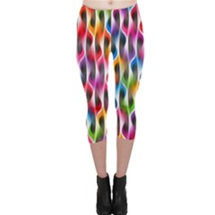 Rainbow Psychedelic Waves Capri Leggings  by KirstenStar