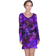 Purple Skulls Goth Storm Long Sleeve Nightdress by KirstenStar