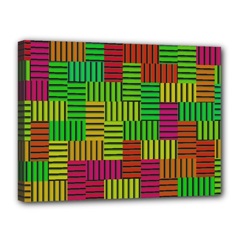Colorful Stripes And Squares Canvas 16  X 12  (stretched) by LalyLauraFLM