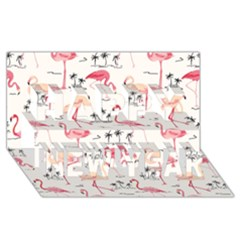 Flamingo Pattern Happy New Year 3d Greeting Card (8x4)  by Contest580383