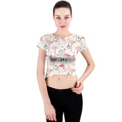 Flamingo Pattern Crew Neck Crop Top by Contest580383