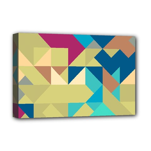 Scattered Pieces In Retro Colors Deluxe Canvas 18  X 12  (stretched) by LalyLauraFLM